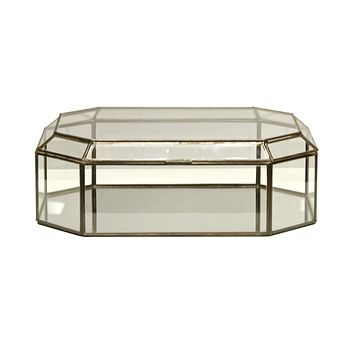 Worlds Away Octagonal Clear Glass Box