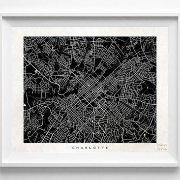Charlotte, North Carolina, Street Map, World, State, Town, Print, Nursery, Art, Cute, Living Room, Poster, Wall Decor, Illustration [NO 485]