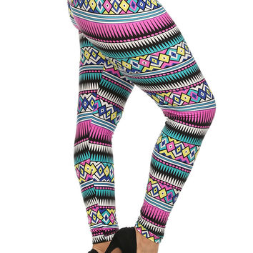 Always Pink and Blue Aztec Printed Stretch Leggings - Plus Size