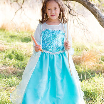 Frozen Queen Elsa inspired Girl Costume, Blue Dress, Disney play time, Handmade, Tourquoise Toddler Costume, Hand Painted Snow Flake Cape