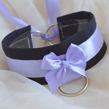Lavender night - black and lilac - fairy kei kawaii cute neko lolita kitten pet play collar