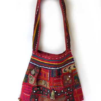 Vintage original 1960s boho Indian antique embroidery tapestry and silver tote bag