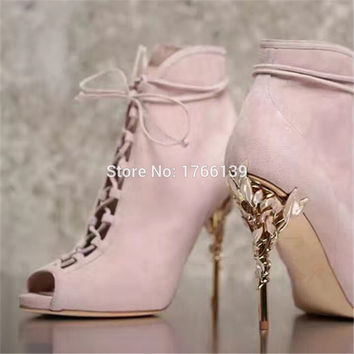 Fashion Metal Flower Heel Women Ankle Boots Peep Toe Lace Up Summer Booties Sexy Suede Women Pumps Botines Mujer High Heels