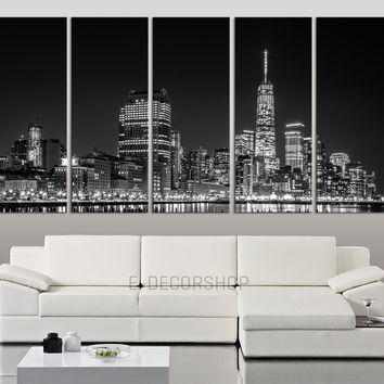 LARGE Wall Art Manhattan Skyline at Night, New York City Large Canvas Art Print for Home Decoration, Ready Hanging