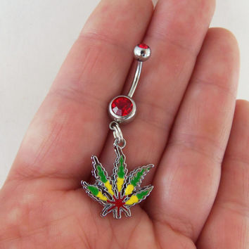 Rasta pot leaf belly ring, weed navel ring, rastafarian dangle body jewelry, marijuana belly button ring, 420 navel ring, bob marley jewerly