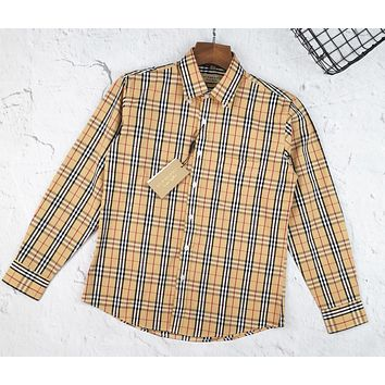 BURBERRY Fashion Men Women Classic Plaid Long Sleeve Lapel Shirt Top