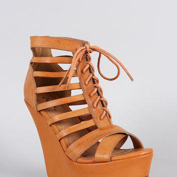 Qupid Caged Lace Up Wedge