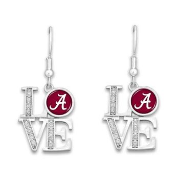 Alabama Crimson Tide Love Pendant Earrings | BAMA Love Earrings | Alabama Crimson Tide Earrings