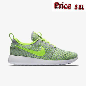 Popular Women Nike Flyknit Roshe Run 704927 005 Electric Green Volt Wolf Grey White sneaker