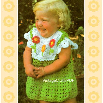 70s Crochet Vintage Pattern - Toddler Dress with Flowers - toddler girl Spring Summer birthday fun - Direct from USA