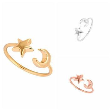 ESBONEJ Silver & Rose Gold Plated  Crescent Moon & Star Ring