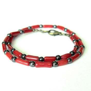 Red Coral Hematite Unisex Choker Beaded Surfer Necklace Natural Stones Mens Womens Jewelry Gift for Him Her