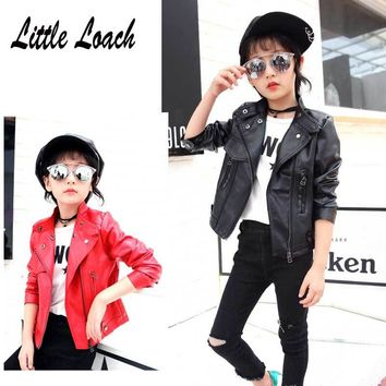 Girls Faux Leather Jacket Black Red Pink Soft Coat Spring Autumn 3-12Year