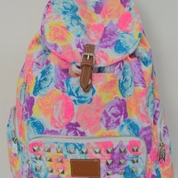 Victoria's Secret PINK Backpack Bling Studded Floral Canvas School Handbag Backpack Book Bag Tote-Sold Out