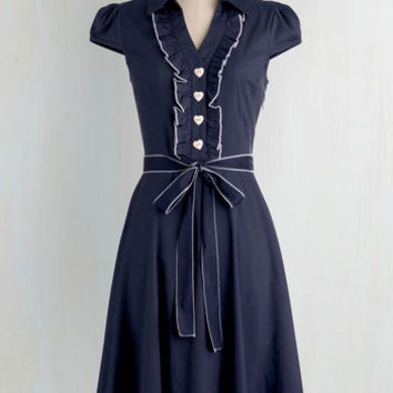 Vintage Inspired Long Cap Sleeves A-line About the Artist Dress in Navy