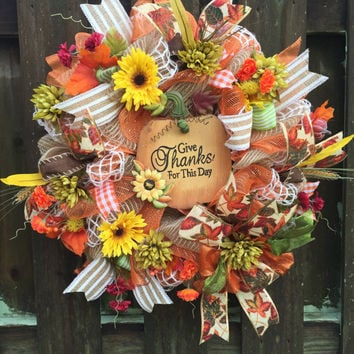 Fall Deco Mesh Wreath, Pumpkin Mesh Wreath, Fall Wreath,Fall Burlap Wreath,Front Door Wreath,Thanksgiving Wreath,Harvest Wreath,Autumn Mesh