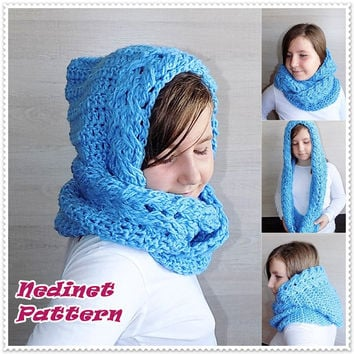 Crochet pattern, crochet hooded scarf pattern, crochet infinity scarf pattern, crochet hooded cowl scarf pattern, child, teen, adult sizes