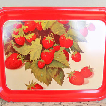 Red Enamel Metal Tray, Strawberry Litho Graphics, Mid Century, Serving Tray, Vintage Cafe' Decor