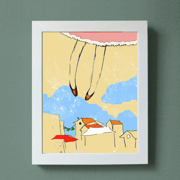 "Art Print Fly me to the Moon 8x10"" original illustration, me over the rooftops"