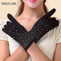 2017 Winter Cashmere Glove Design Women Guantes Female Luva Driving Gloves Mujer Phone Touched Screen Solid Wrist Mittens G030