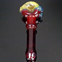 Fire Red Fumed Glass Spoon Pipe