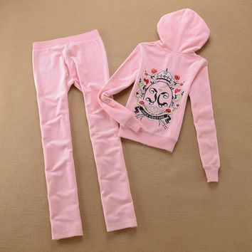Juicy Couture Crown Logo Flowers Velour Tracksuit 6019 2pcs Women Suits Pink