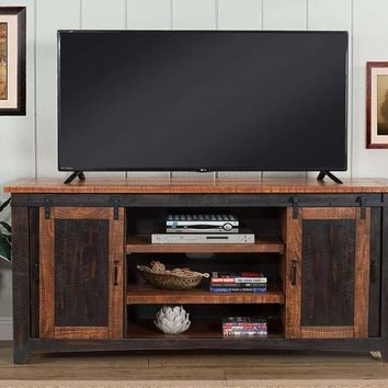 Dual Tone Wood and Metal TV Stand With 2 Mesh Style Doors, Antique Black and Brown