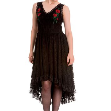 Spin Doctor Gothic Midnight Dance Black Floral Lace High-low Party Dress