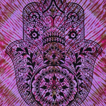 Indian Hamsa Hand, Hand of Fatima Tapestry, Handmade Multicolor tie dye throw for dorm decor Evil Eye Bohemian Wall Hanging