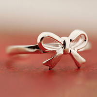 Latest Bowknot Opening Silver Ring