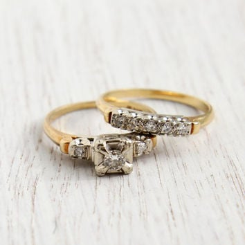 Vintage 14K Yellow & White Gold .25 CTW Diamond Ring Set - Size 6 Post War 1940s Engagement Fine Jewelry / Prism-Lite Two Tone Wedding Set