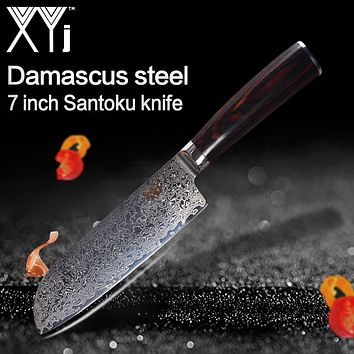 XYj Handmade Damascus Knife Beauty Pattern 73 Layers VG10 Damascus Steel 7 inch Santoku Knife Color Wood Handle Kitchen Knives