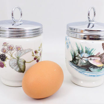 Porcelain Egg Coddlers, Royal Worcester, Berries, Birds, Made in England, Vintage Kitchen