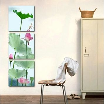 Unframed 3 piece lotus flower wall art picture print canvas oil painting living room wall art pictures fashion home decal