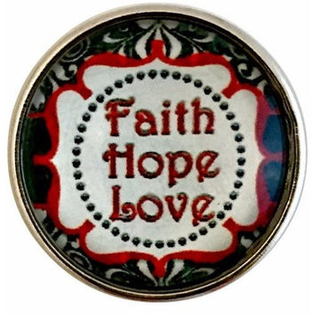 Faith Hope Love Snap Charm 20mm for Snap Charm Jewelry