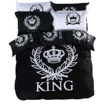 Royal Bedding Set Print Bedlinen Double Single Queen King Size 100% Cotton Black & White Series