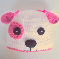 Baby Girl Dog Hat 1 Year Old Infant Puppy  Cap White And Pink 6 To  12  Months Baby  Beanie Handmade  Animal Photo Prop Accessory