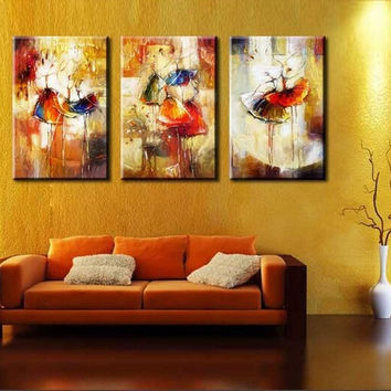3panels Cuadros Decoracion Ballet Dancing Oil Painting On Canvas Abstract Wall A