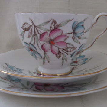 Royal Stafford bone china tea cup, saucer and plate (vintage trio). Ideal for vintage wedding, tea shop, display or use.