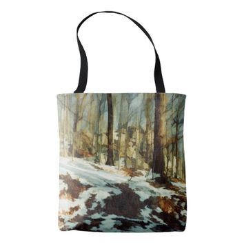 Watercolor Snowy Forest All Over Print Tote Bag