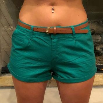 Long Live the Weekend Green Shorts