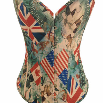 Flag And Puzzle Print Corset With Front Button