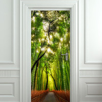 "Door wall sticker cover bamboo forest green trees way 30""x79"" (77x200cm)"