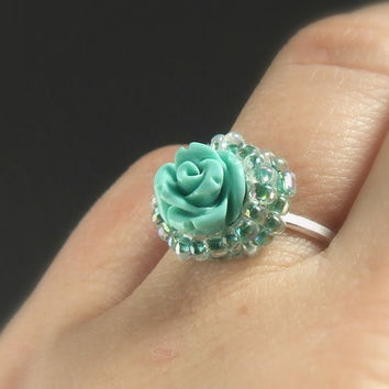 Turquoise rose silver engagement ring, romantic women jewelry, handmade sterling silver adjustable ring with blue resin rose
