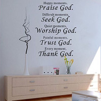 1 X Wall Vinyl Decal Quote Sign Christian Praise God DIY Art Sticker Home Wall Decor