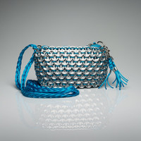 Unique Soda Pop Top Purse Eco Friendly Handmade with Recycled Materials - Blue Color