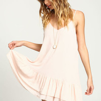 BLUSH TIERED RUFFLE SLIP DRESS