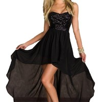 made2envy Charming Chiffon Skirt, Sequined or Lace Top As (S, Black) C6153-S