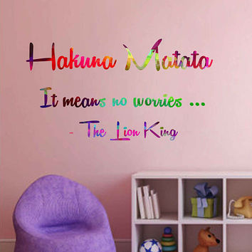 kcik2025 Full Color Wall decal Watercolor Character Disney Sticker Disney children's room Hakuna matata quote The Lion King