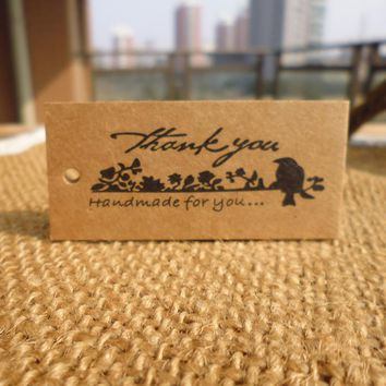 50pcs Bird Thank you Handmade DIY Kraft  Gift Tag Party Wedding Message Gift Tag Hang Tag,Craft Cards Label Hemp String Included